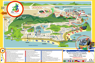 Mapa de onibus turistico e hop on hop off bus tour de Rio L'Open Tour